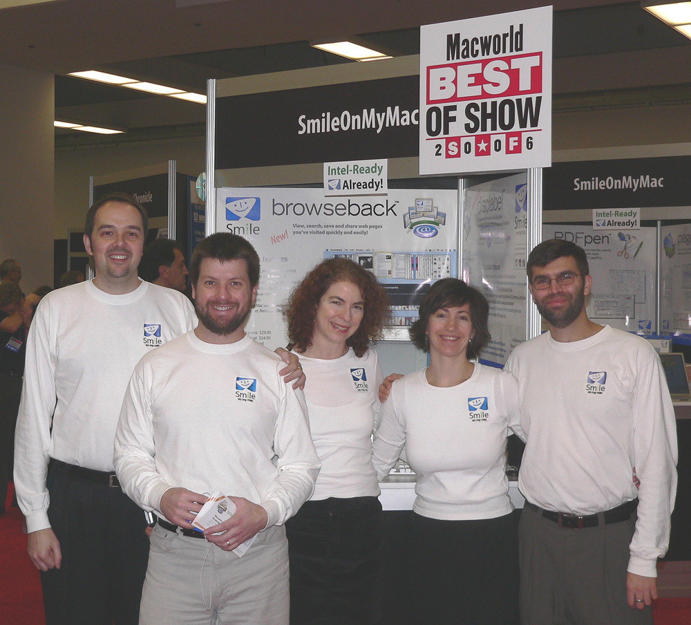 Smile team (left to right): Philip, Brian, Jean, Jane, and Greg. Standing in from of SmileOnMyMac booth at Macworld SF 2006.